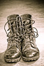 Black Leather Army Boots Stock Photos