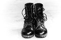 Black Leather Army Boots Stock Image