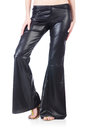 Black leather bell bottomed trousers Royalty Free Stock Photos