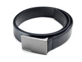 Black leather belt close up of stylish fashionable Royalty Free Stock Images