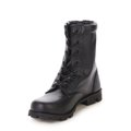 Black leather boot with laces. Royalty Free Stock Photo