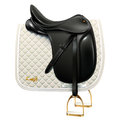 Black leather dressage saddle with white saddle pad isolated on white background Stock Photography