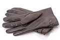 Black leather gloves on white men s isolated background Stock Images