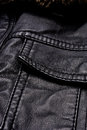 Black leather jacket details close up of Stock Photo