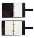 Black leather organizer notepad copybook scheduler