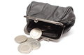 Black leather purse with silver coins white background closeup of in pocket isolated on Royalty Free Stock Image