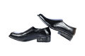 black leather shoes isolated on white Royalty Free Stock Photo