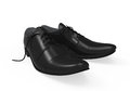 Black leather shoes on white background d render Royalty Free Stock Image