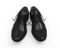Black leather shoes on white background d render Stock Photos