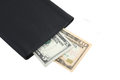 Black leather wallet with dollars Royalty Free Stock Photography