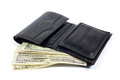 Black Leather Wallet Full of Money  on White Royalty Free Stock Photo