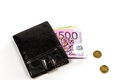 Black leather wallet and money euro white background Royalty Free Stock Image
