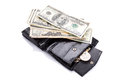 Black leather wallet money isolated white Royalty Free Stock Image