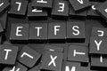 Black letter tiles spelling the word & x22;ETFs& x22;