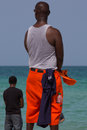 Black life guards watching at the sea miami beach Royalty Free Stock Photography