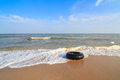 Black life ring buoy help swim on the beach Royalty Free Stock Photo