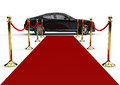 Black limo and red carpet Royalty Free Stock Photo