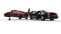 Black limousine with a private jet