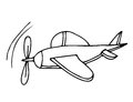 Black line airplane for coloring book Royalty Free Stock Photo