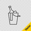 Black line Bottle of wine in an ice bucket icon isolated on transparent background. Vector Royalty Free Stock Photo