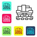 Black line Cargo train wagon icon isolated on white background. Full freight car. Railroad transportation. Set icons in Royalty Free Stock Photo