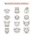 Black line Chinese zodiac animal icons Royalty Free Stock Photo