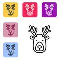 Black line Deer head with antlers icon isolated on white background. Set icons in color square buttons. Vector Royalty Free Stock Photo