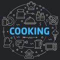 Black Line Flat Circle illustration cooking