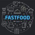 Black Line Flat Circle illustration fastfood