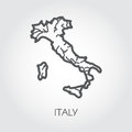 Black line icon of Italy map. European contour border country with signature. Vector illustration