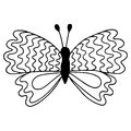 Black line isolated butterfly for tattoo, coloring book