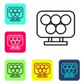 Black Line Olympic Rings Icon Isolated On White Background. Set Icons In Color Square Buttons. Vector