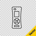 Black line Remote control icon isolated on transparent background. Vector Royalty Free Stock Photo