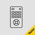 Black line Remote control icon isolated on transparent background. Vector Illustration Royalty Free Stock Photo