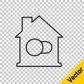 Black line Smart home icon isolated on transparent background. Remote control. Vector Royalty Free Stock Photo