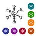 Black line Snowflake icon isolated on white background. Set icons in color circle buttons. Vector Illustration Royalty Free Stock Photo