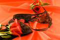 Black lingerie and red roses Royalty Free Stock Image