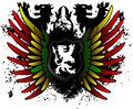 Black lion rasta shield red yellow and green Royalty Free Stock Images