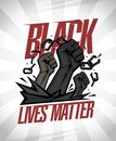 Black lives matter banner illustration, vector design with fists tearing chains