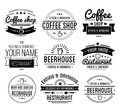 Black logo. Coffee shop template. Restaurant label. Beer house label. Royalty Free Stock Photo