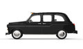 Black london taxi isolated on white background d render Stock Photo
