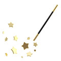 Black magic wand with stars isolated Royalty Free Stock Photography