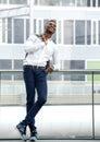 Black male fashion model smiling Royalty Free Stock Photo