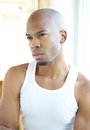 image photo : Black male fashion model in white shirt