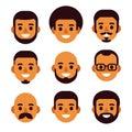 Black man avatar set Royalty Free Stock Photo