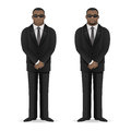 Black man bodyguard stands in closed pose illustration format eps Royalty Free Stock Image