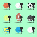Black man character cartoon hold sport balls with green background. Flat graphic. logo design. sports cartoon. vector Royalty Free Stock Photo