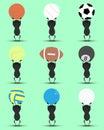 Black man character cartoon hold sport balls overhead with green background. Flat graphic. logo design. sports cartoon. vector.