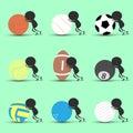 Black man character cartoon push sports ball forward with green background. Flat graphic. logo design. sports cartoon. sports ball