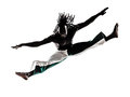 Black man dancer dancing capoeira silhouette one on white background Royalty Free Stock Photography